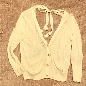 Cream cardigan sweater with cutout back